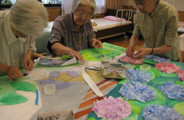 壁面制作「紫陽花」